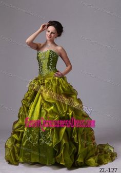 Hot Olive Green Sweet 16 Quinceanera Dress with Embroidery and Pick-ups