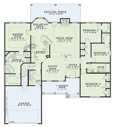 European Style House Plan - 4 Beds 2.00 Baths 1965 Sq/Ft Plan #17-1124 Floor Plan - Main Floor Plan - Houseplans.com