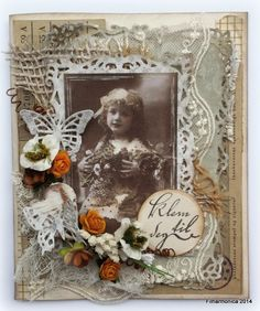 Vintage Card by LLC DT Member Heidi Augustson, using papers from Maja Design's Sofiero collection.