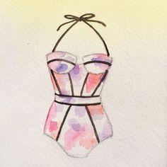 $35 Original swimsuit watercolor by OliveTwigStudio
