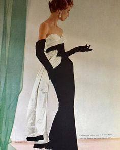 Jacques Fath and black and white, L'Officiel, Avril 1953.