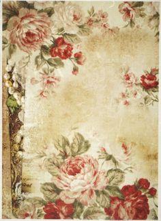 Rice Paper for Decoupage Decopatch Scrapbook Craft Sheet Roses Wallpaper