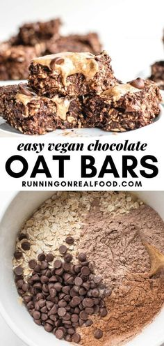 These yummy treats are easy to make in 20 minutes with just 5 simple ingredients: oats, banana, cocoa powder, protein and chocolate chips! Enjoy for a sweet but healthier dessert and snack option. No Bake Oatmeal Bars, Oat Bars, Baked Oatmeal, Breakfast Recipes, Dinner Recipes, Dessert Recipes, Chocolate Oats, Vegan Gluten Free, Gluten Free Desserts