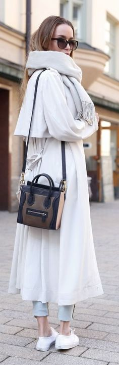 White Long Trench Styling