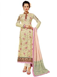 Cream color net #Kameez is decorated with resham work with matching #Churidar and light pink color patch border dupatta.  Item Code : SLHD6037 http://www.bharatplaza.com/new-arrivals/salwar-kameez.html
