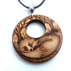 Sleeping Fox Pyrography Wood Pendant Necklace £19.95