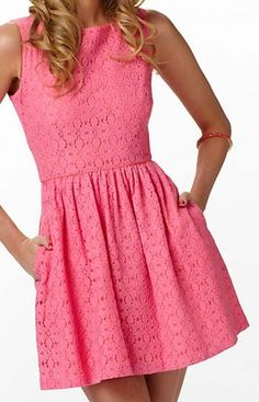 Coral  lace short  dress  for summer