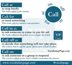 Phrasal verbs with CALL #learnenglish