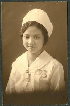 Filipina nursing student. Ca. 1920's via Pinoy Kollektor
