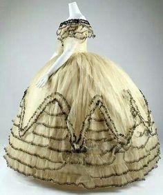1850s ballgown (doorways were wider then)