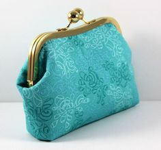Blue Cotton Swirl Pattern Clutch with with Gold by LouisaDesigns, $26.50