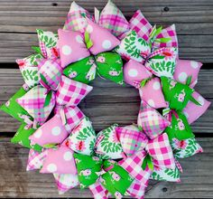 Pink and Green Preppy Whale Handmade Fabric Wreath
