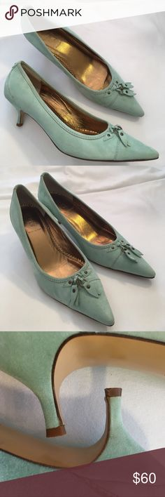 J. Crew Dulci Suede Kitten Heel Mint Green Tassel Worn twice. Have a few light spots. Minty green Aqua color Suede. All leather shoes. Leather sole. Suede body. Leather inside shoe. Size 9. In my option they fit true to size. I'm a size 9.5. I can put these on but couldn't wear them all day since they are 1/2 size too small. Made in Italy. J. Crew Shoes Heels