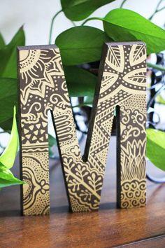 """8"""" Standing Letter - Mehndi Design"""