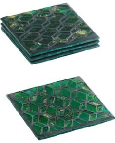 Love these emerald green glass coasters! Texture and color! Loving it!