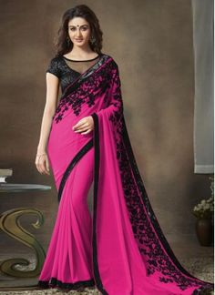 Tantalizing Faux Georgette Hot Pink Embroidered Work Classic Designer Saree