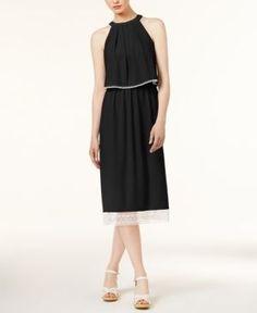 kensie Crochet-Trim Slit-Back Dress - Black XL