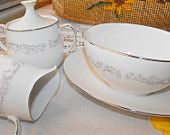 Vintage Noritake Ivory China Style White Porcelain with Silver Sugar and Creamer and Gravy Bowl Set