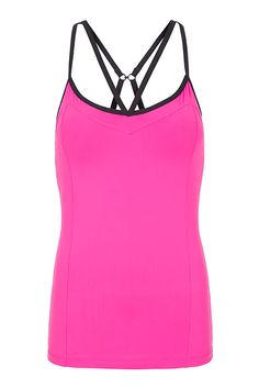 Lorna Jane Pink slim-fit, maximum support tank is ideal for workouts Made from lightweight Mesh fabrics which are shrink and fade resistant, wick moisture and are quick drying and breathable Mesh back panel for breathability Built-in shelf bra with removable padding, gives your bust great shape and extra support Contrast double strap detail Adjustable strap length allows you to customise your fit and support