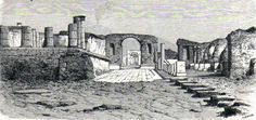 Antique woodcut print Forum Naples Pompei / stampa antica Pompeii Napoli 1865