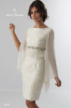 Mother of the bride. Together Lace Hem Summer Coat Stylish Dresses, Elegant Dresses, Beautiful Dresses, Fashion Dresses, Lace Dress, Dress Up, White Dress, Modelos Fashion, Groom Dress