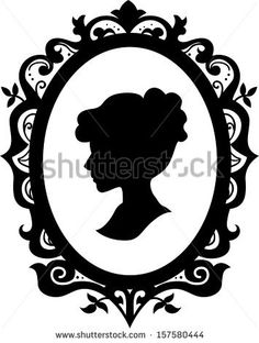 Black and White Illustration of a Cameo Featuring the Silhouette of a Woman - stock vector