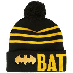 DC Comics Batman Stripe Pom Beanie Hot Topic ($15) ❤ liked on Polyvore featuring accessories, hats, black beanie hat, yellow beanie, logo beanie hats, pom pom beanie hat and beanie hats