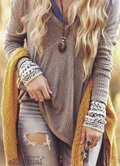 Comfy and casual boho layers for the cooler months. Love this sweater.