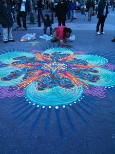 leaui:  sheswalkingonwater:  valiumandvolkswagens:  psychedelic street art  i see this guy in union square all the time!  more gypsy bambii pink