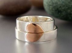 Heart Wedding Band Set in 14k Rose Gold and Sterling Silver - We Hold One Heart