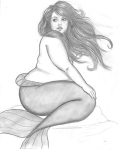 """[Image: A pencil drawing of a fat, light-skinned mermaid, her hair blowing in the wind.] fatnomimalone: """" Wow, this drawing blew UP tonite. So weird. Guess I'll work on another fat mermaid tonite…...."""