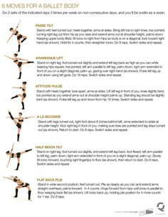 """Ballet Fitness - keep in shape . well I definitely used to do most of these in ballet so no wonder they would create a """"ballet body"""" Ballet Barre Workout, Cardio Barre, Dancer Workout, Dancer Body Workouts, Barre Moves, Ballerina Workout, Pilates, Back Strengthening Exercises, Body Exercises"""