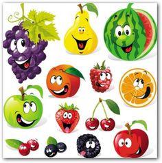 Buy Fruit Cartoon by hanaschwarz on GraphicRiver. funny fruit cartoon isolated on white background L'art Du Fruit, Deco Fruit, Fruit Art, Funny Fruit, Cute Fruit, Image Fruit, Vegetable Cartoon, Fruit Cartoon, Fruit Vector
