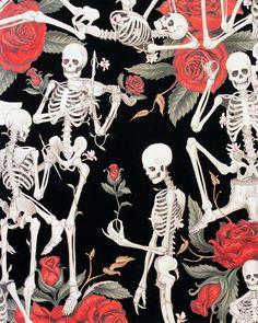 Alexander Henry LIFE'S LITTLE PLEASURES Black Quilt Fabric - by the Yard Skeleton Skulls Bones Day of the Dead