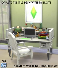 The Sims 4   Orangemittens' EP02 Get Together Ornate Trestle Desk with 78 Slots   buy mode override