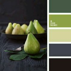 Quite palette in which different shades of green - a deep dark green, grass and apple blend harmoniously with the soothing color of wet asphalt and a neutr