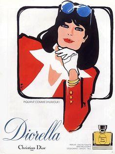 Christian Dior 1980 Diorella, René Gruau, via Kwan Li Perfume Ad, Vintage Perfume, Perfume Bottle, Mode Vintage Illustration, Illustration Art, Pierre Balmain, Jacques Fath, Dior Couture, Christian Dior Perfume