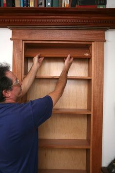 DIY Hidden Pivot Bookcase - FULL STEP BY STEP PICTURE HELP .. great to make a closet hidden. #shtf #prepping #diy