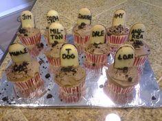 Walking dead party cupcakes. season premiere party