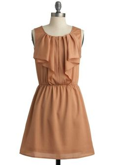 tan dress with ruffles! luv it!