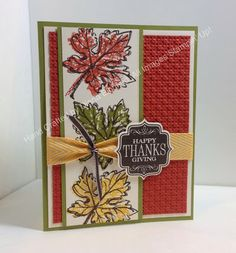 Stampin' Fun with Diana: 30 Day Gratitude Card Challenge: Day 8, Fab Friday Color Challenge, Big Shot, Gently Falling, Tags 4 You, Thanksgiving, Card, Stampin' Up, Diana Eichfeld