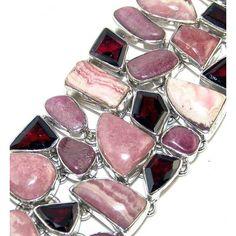 925 Sterling Silver Bracelet with Rhodochrosite, Rhodonite, and Garnet Faceted Gemstone $298.80