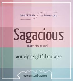 Unscrambling sagacious we found 6 valid Scrabble words and scores. 6 words unscrambled with the word unscrambler. Interesting English Words, Unusual Words, Weird Words, Rare Words, Learn English Words, Cool Words, Vocabulary Journal, Good Vocabulary, English Vocabulary Words