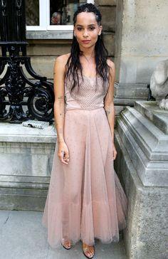 Zoe Kravitz in a blush Valentino dress