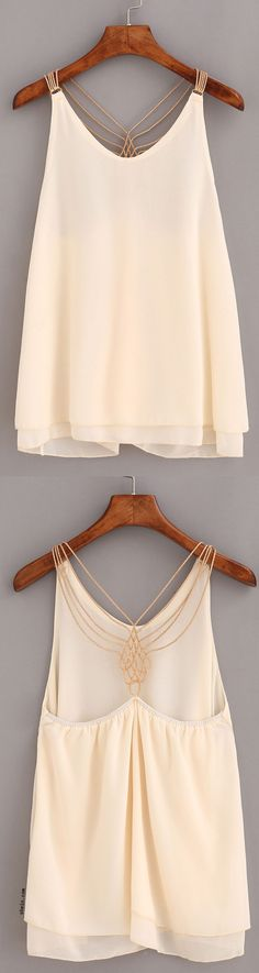 Apricot Beaded Racerback Chiffon Top. It looks amazing over white ripped skinny jeans and cowboy boots. Sign up for SheIn today and get $3 off!