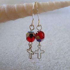 Little Red Earrings with Cross