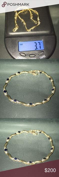 Sapphire and real diamond bracelet 10k This is a 10K yellow Gold sapphire and diamond bracelet, all real. Total weight 3.7g tcw. Had 9 oval shape sapphires.     .18= 1.62tcw and 2 round diamonds .2= .4tcw gives us a total of 1.66 tcw. Jewelry Bracelets