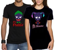 His & Her Suicide Squad t-shirts Joker Her puddin and Harley Quinn His Lil Moster shirts