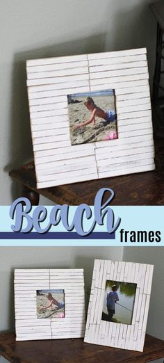 These easy beach frames are have a coastal slat look! Beach Crafts, Fun Crafts, Crafts For Kids, Summer Crafts, Frame Crafts, Diy Frame, Beach Frame, Rustic Crafts, Adult Crafts