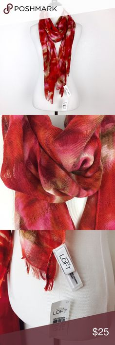 """NWT! LOFT red watercolor scarf New w tag! No flaws.  Beautiful scarf from LOFT in pretty hues of red, burgundy, olive green, and cream in a blended watercolor print.   Width is 24"""" Length is 70"""" Material: wool and nylon  🚫trade LOFT Accessories Scarves & Wraps"""